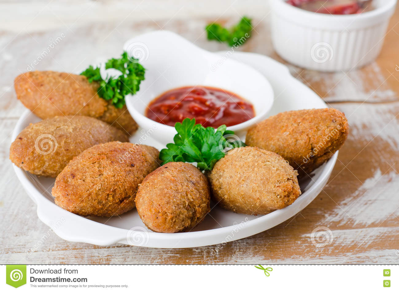 Kibbeh. Traditional Arabian Meatballs With Parsley In White Plate.