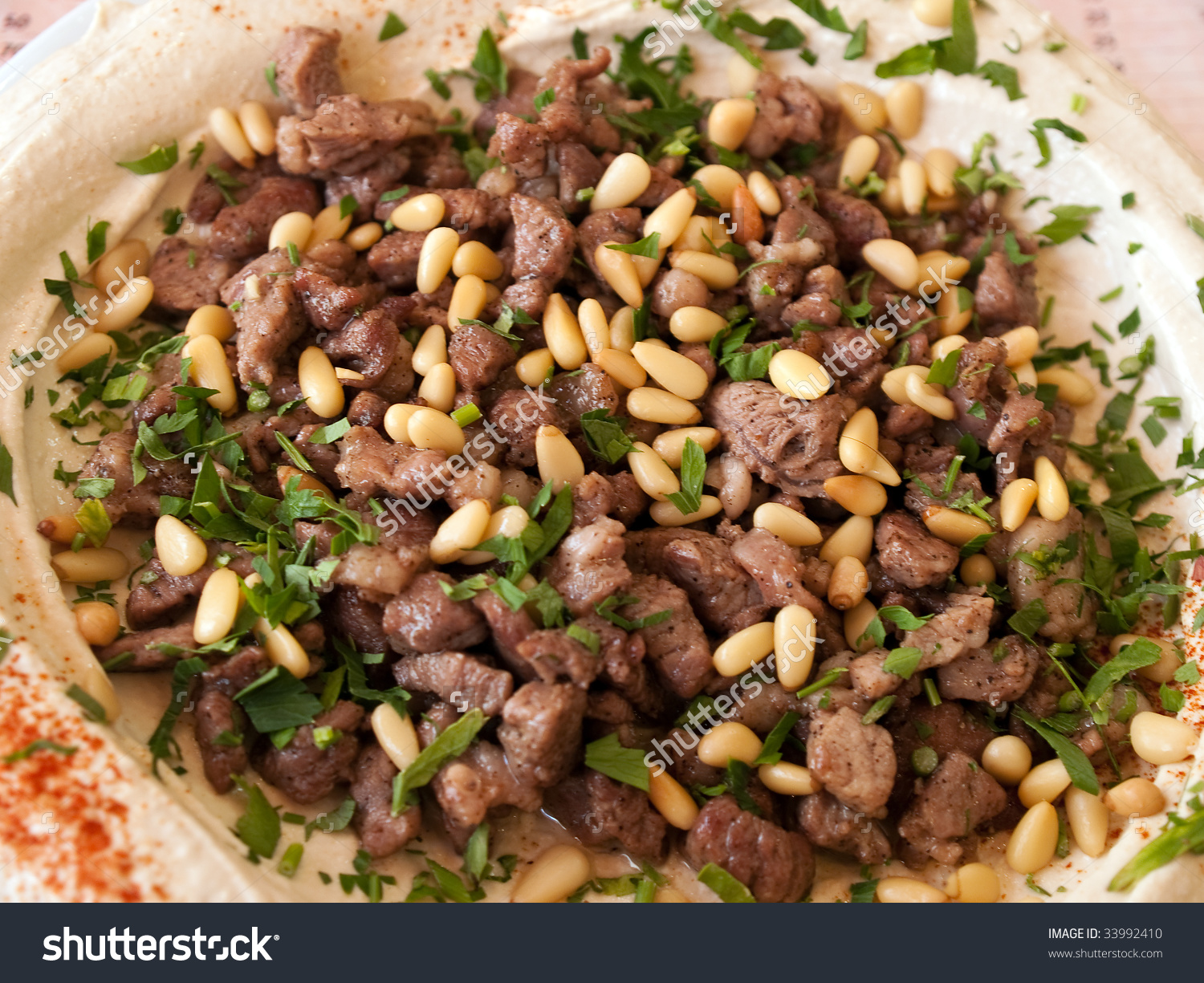 Fresh Hummus Lamb Meat Parsley Middle Stock Photo 33992410.