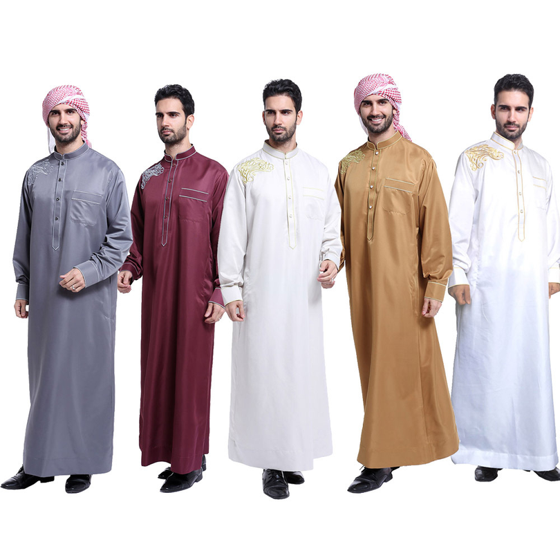 Arab Muslim Clothing for Men The Middle East Arab Male People Dress Thobe  Arabic Islamic Abayas Dress Indian Mens Kaftan Robe.