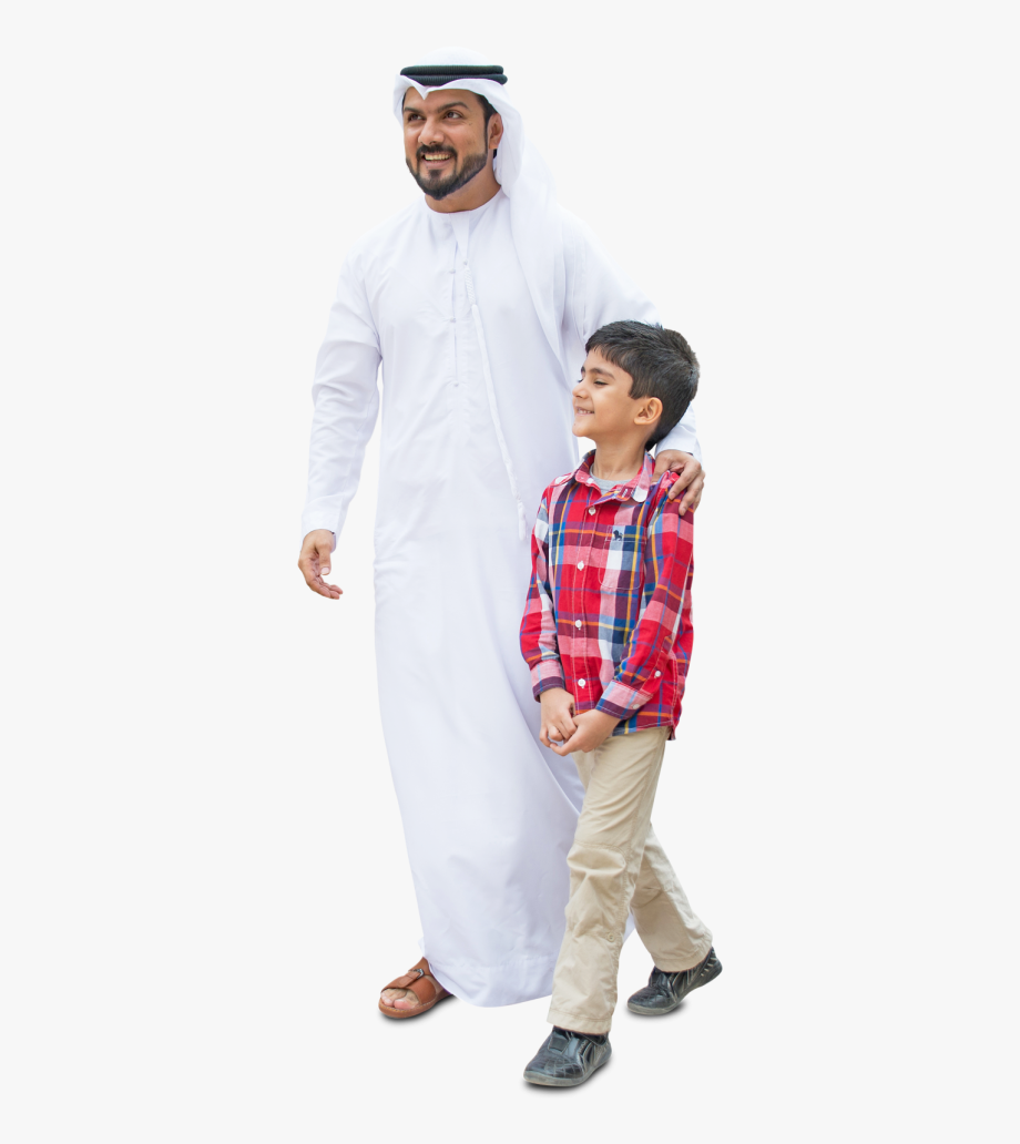 Arab Dad And Son, Walking In Traditional Fashion.