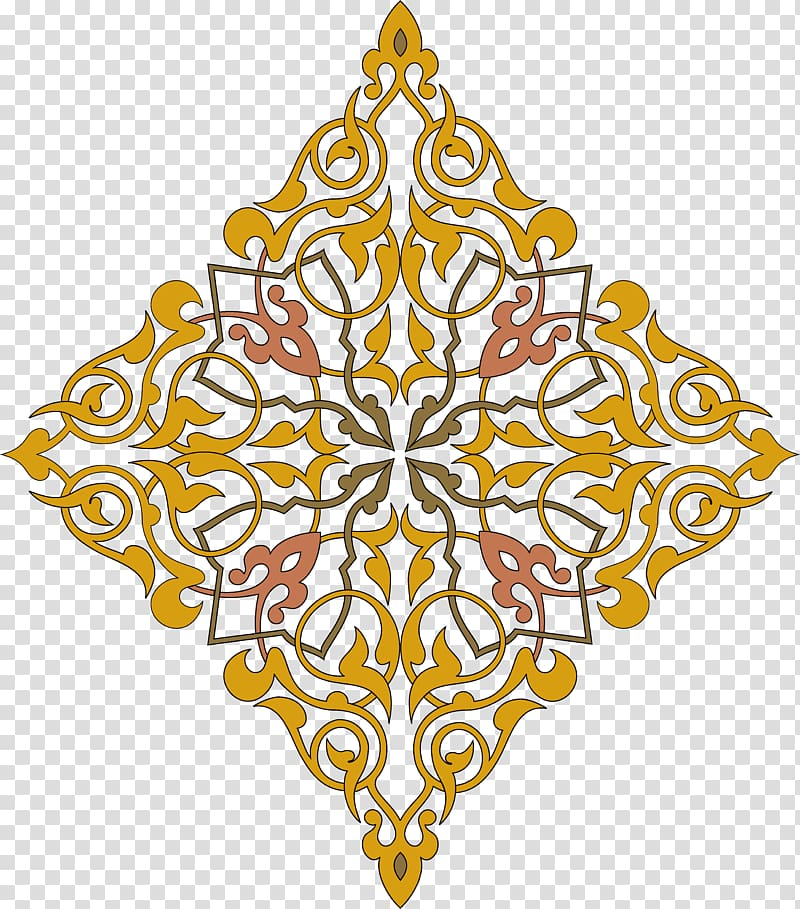 Yellow and brown floral illustration, Ornament Arabesque.