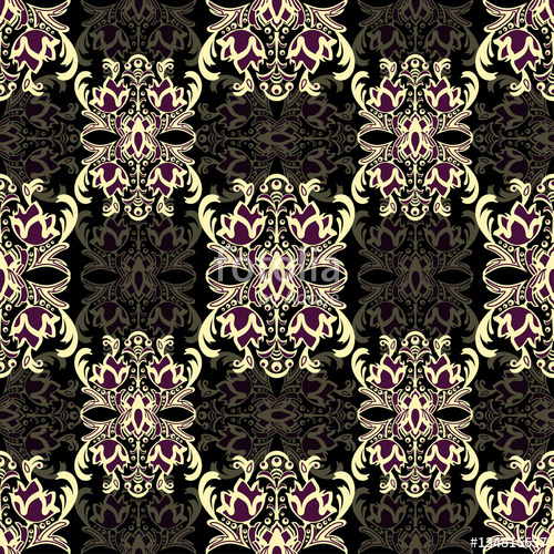 Damask floral seamless pattern with arabesque, multicolor.