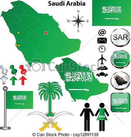 EPS Vector of Map of Saudi Arabia.