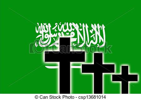 Clipart of The Saudi Arabia flag and the silhouettes of tombstones.