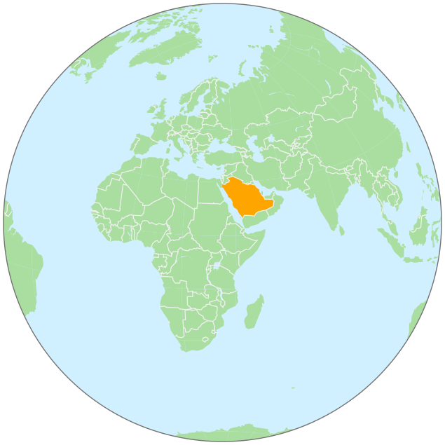 Saudi Arabia On Globe Clip Art Download.
