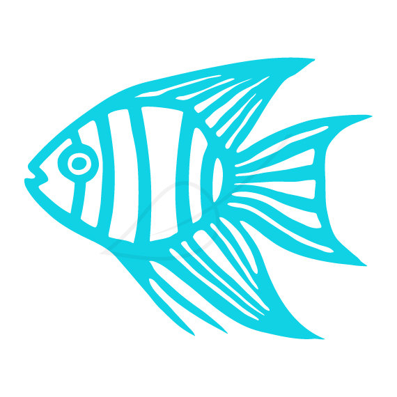 Items similar to Tropical fish digital stamp clip art in turquoise.