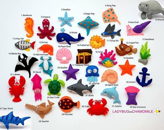 PECES de fieltro imanes, imán peces, peces Coral, juguete de plato.