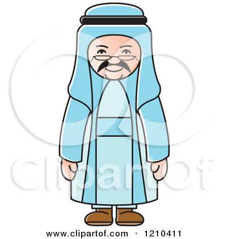 Clipart of a Black and White Happy Arabic Man.