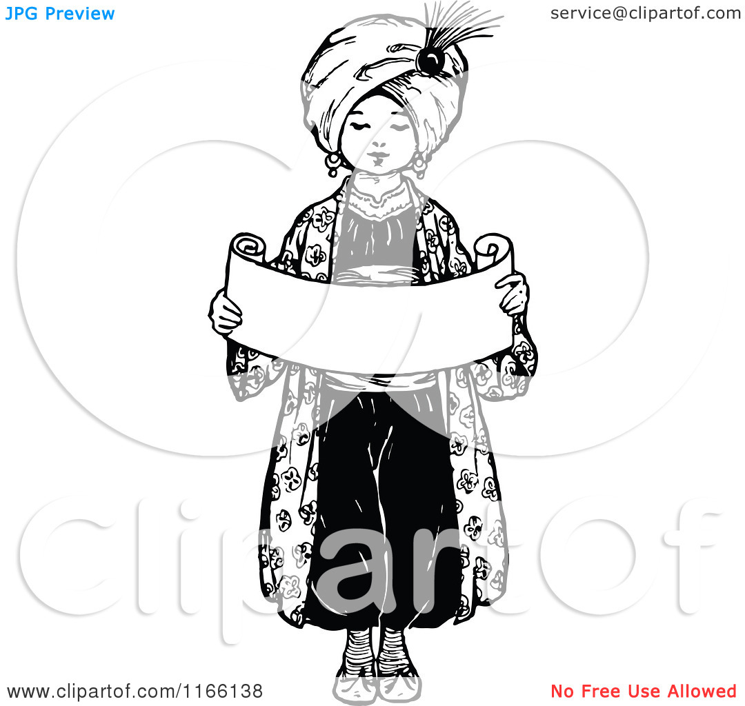 Clipart of a Retro Vintage Black and White Arabian Boy Holding a.