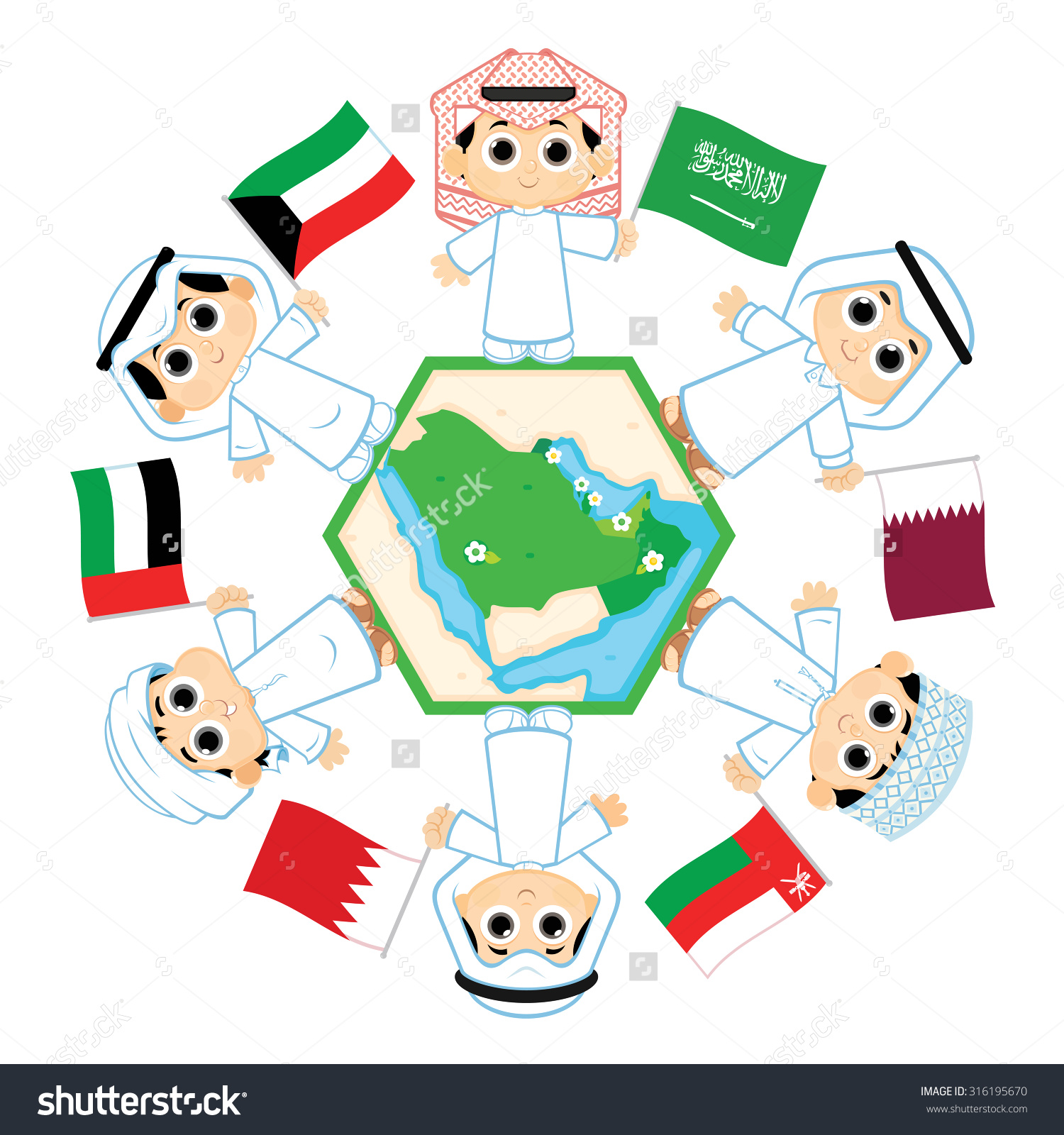 Saudi and gulf country flag clipart gif.