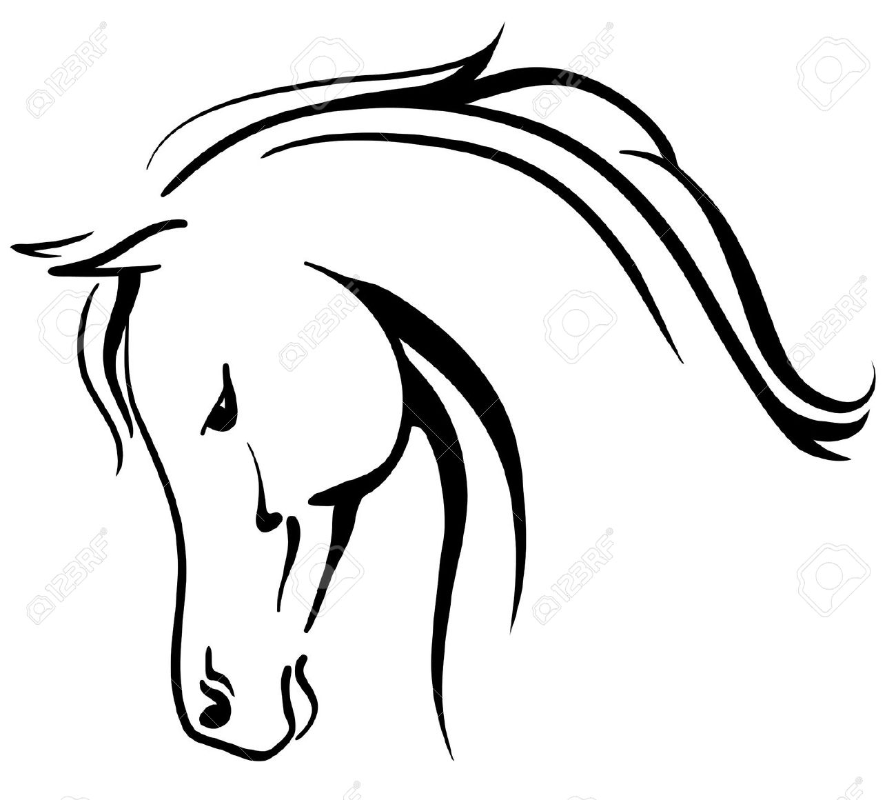 Clip Art Arabian Horse Stylised Head Royalty Free Cliparts.