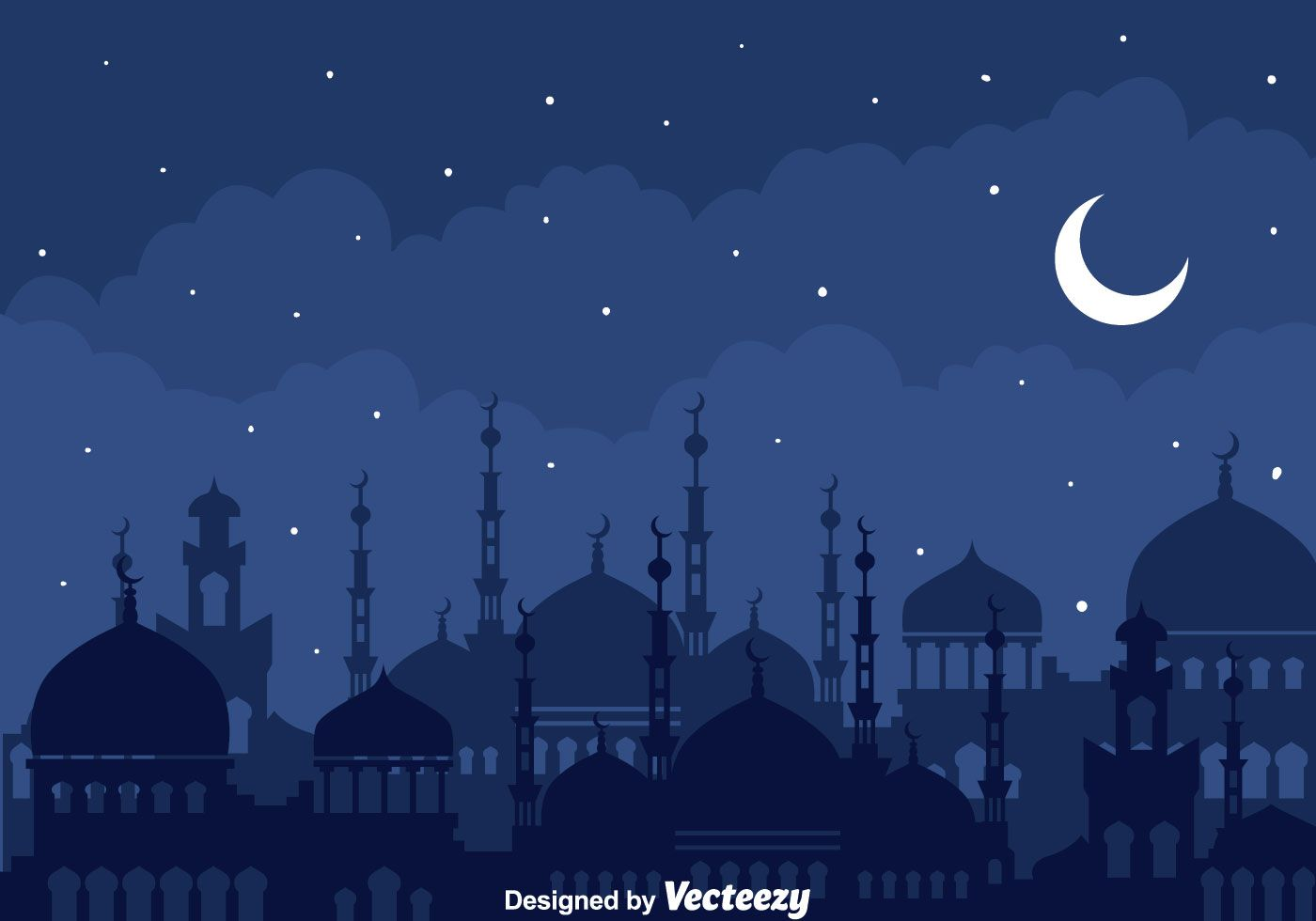 Illustration of silhouette mosque at arabian night with stars and.