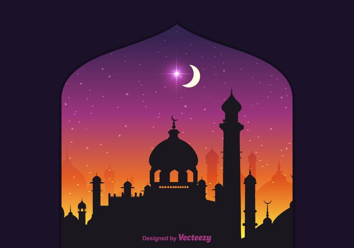 Free Vector Arabian Nights Background.