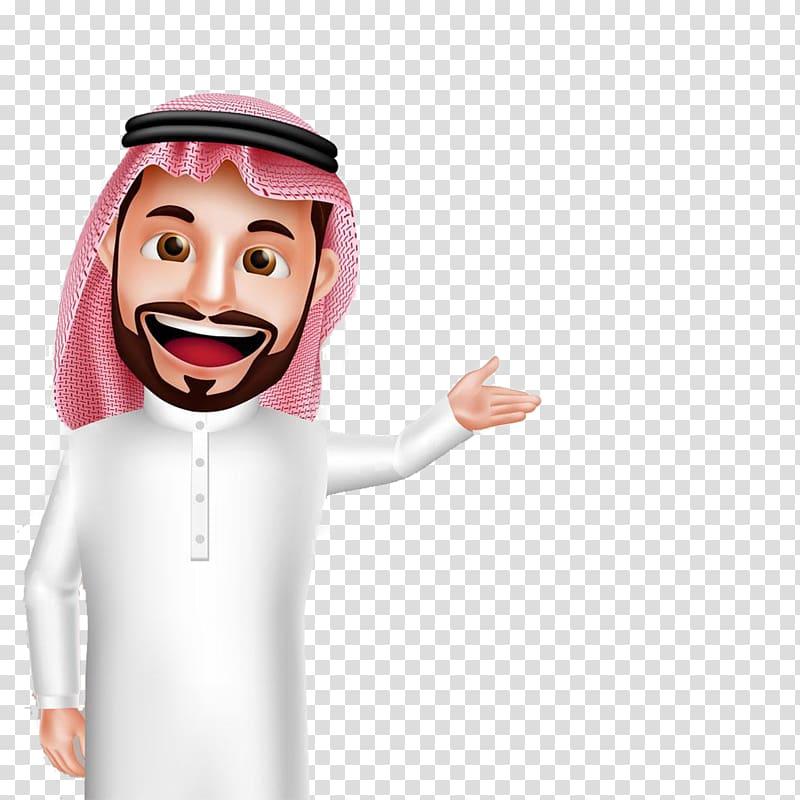 Man wearing keffiyeh illustration, Saudi Arabia Arabs.