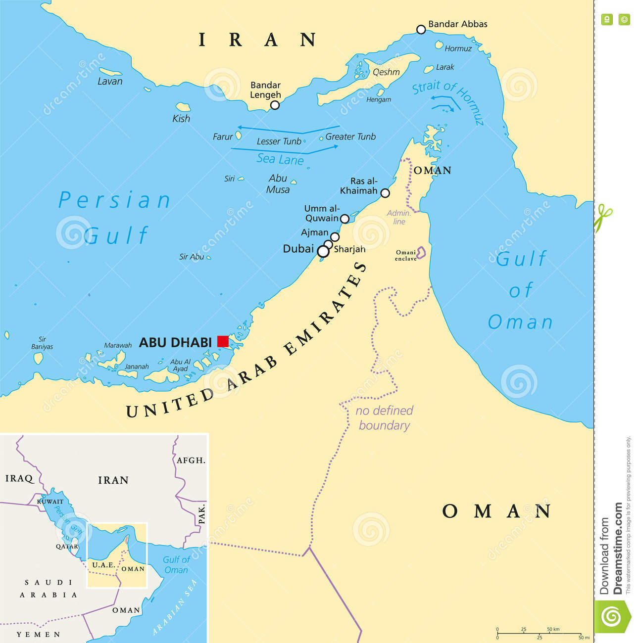 Strait Of Hormuz, Abu Musa And The Tunbs Political Map Stock Photo.