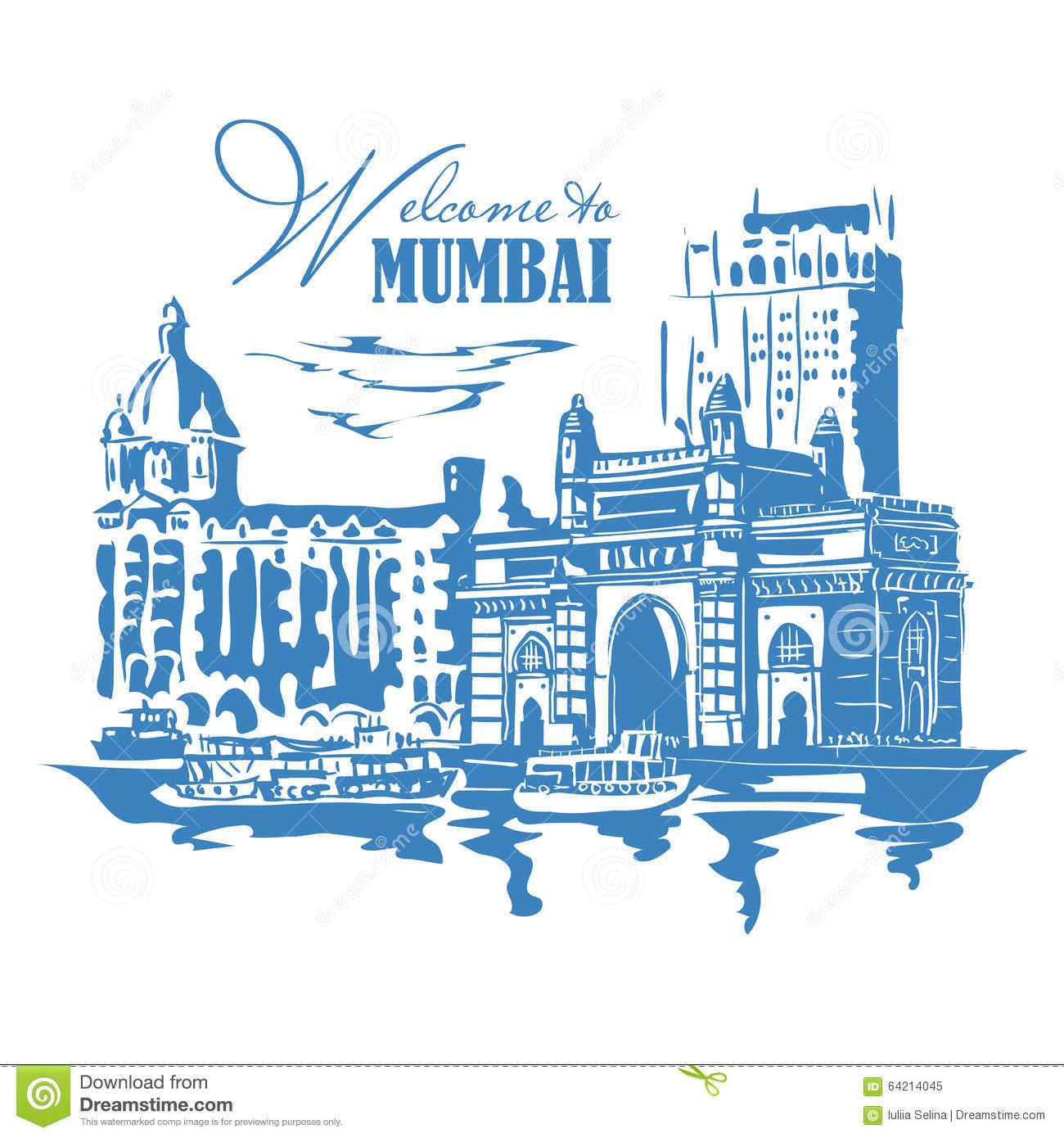 Mumbai, India Gate Stock Vector.