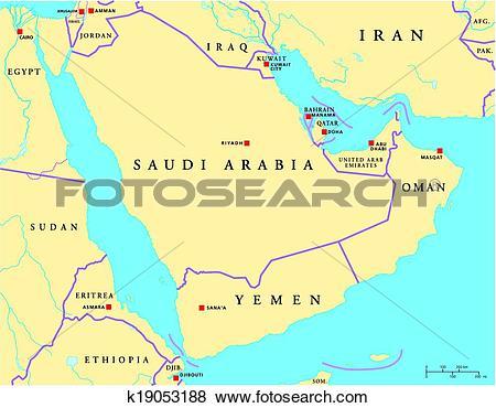 Clip Art of Arabian Peninsula Political Map k19053188.