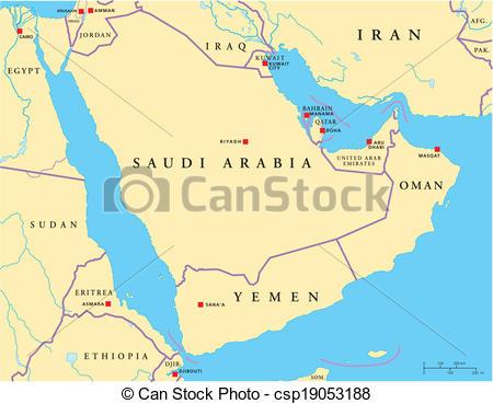 Vector of Arabian Peninsula Political Map.