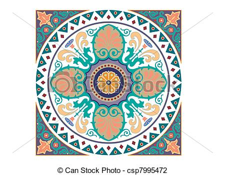 Vector Illustration of Detailed Arabic motif ornament csp7995472.