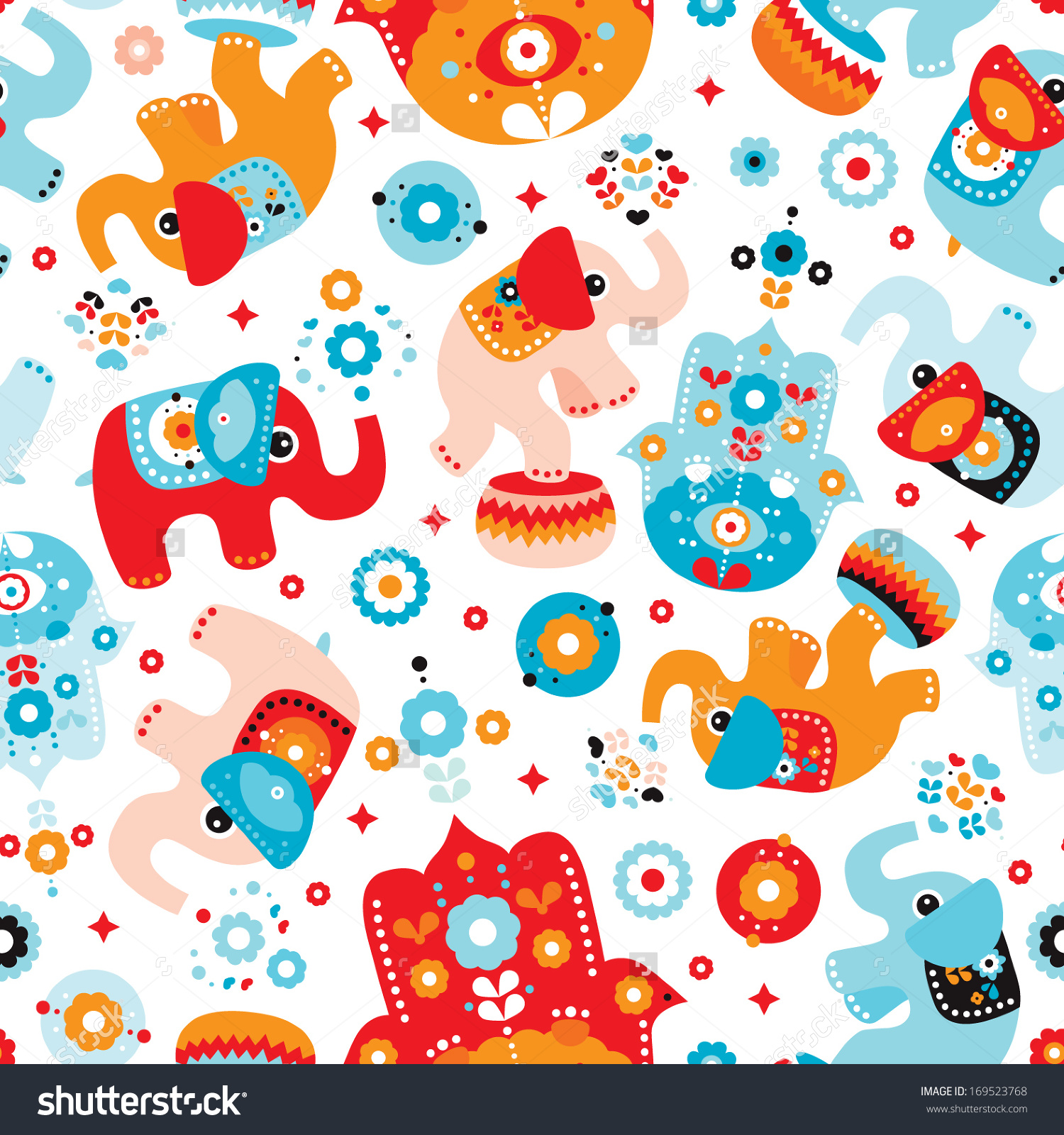 Seamless Retro Elephant Kids Illustration Arabic Stock Vector.