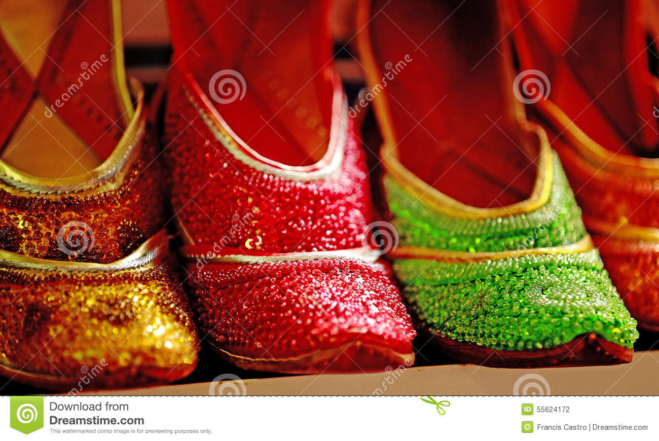 Bright Arabic Shoes For Ladies Stock Photo.