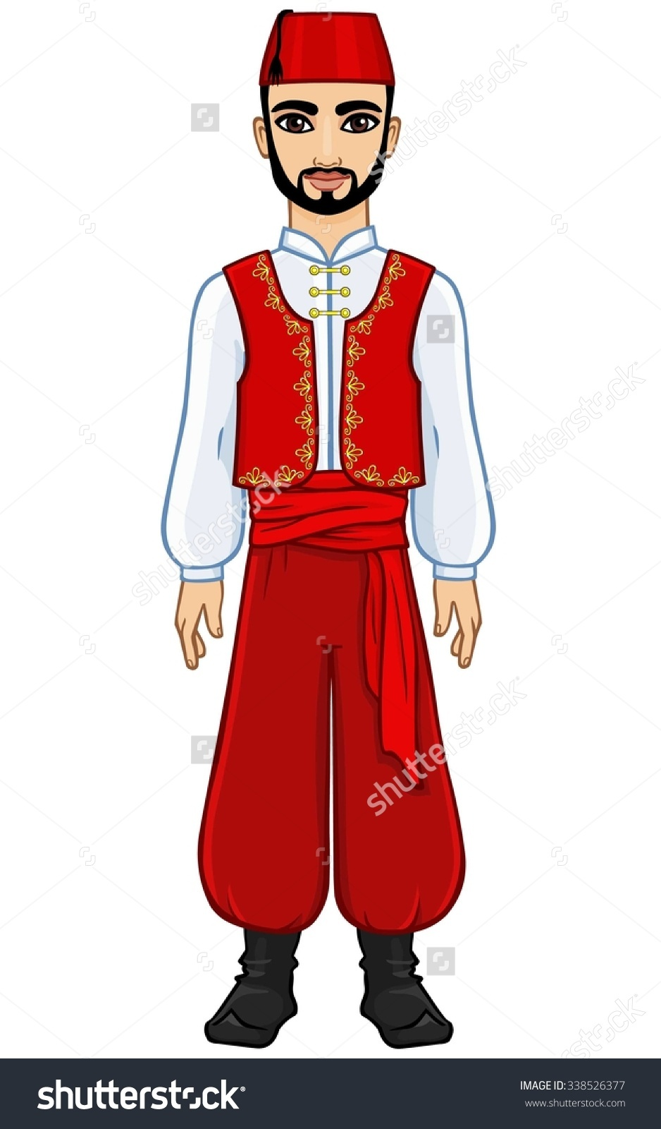 Animation Arab Man Ancient Clothes Full Stock Vector 338526377.