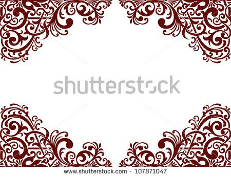 Vector vintage baroque border frame card background flower motif.