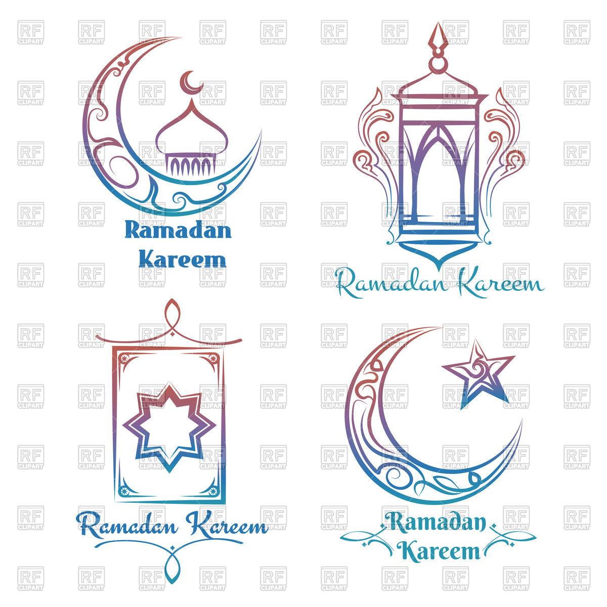 Ramadan Kareem emblems.