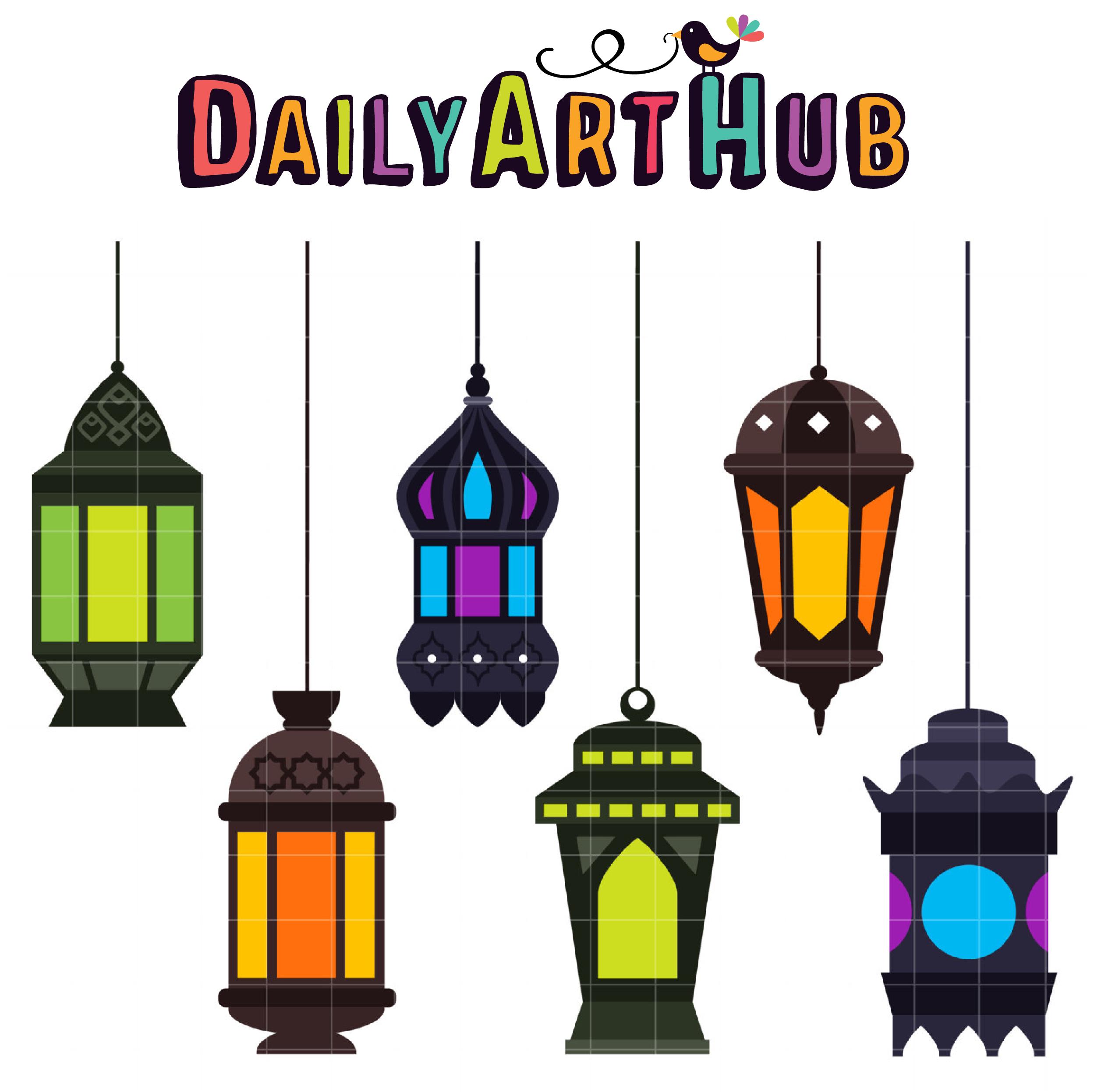 Arabic Lanterns Clip Art Set.