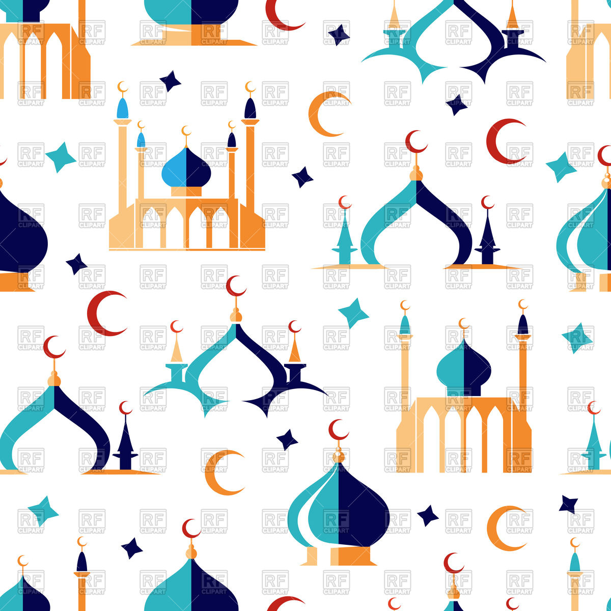 Arabic seamless pattern with moon stars and mosque Stock Vector Image.
