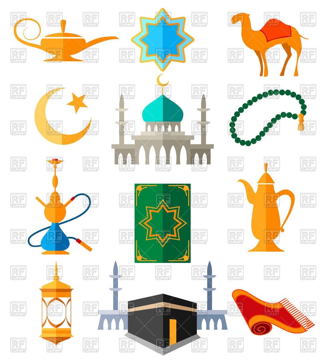 Muslim Arabic icons. Islamic culture Stock Vector Image.