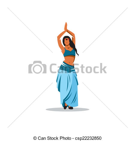 Clipart Vector of Belly dance girl vector sign.