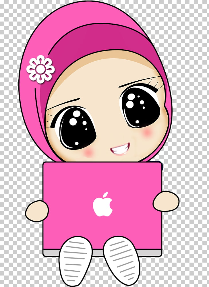 Cartoon Muslim Drawing Islam, arabic, girl with pink laptop.