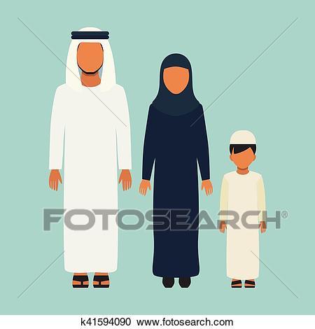 Arabic Family Clipart.