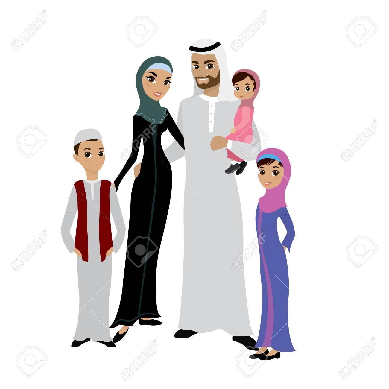 Happy arabic family.