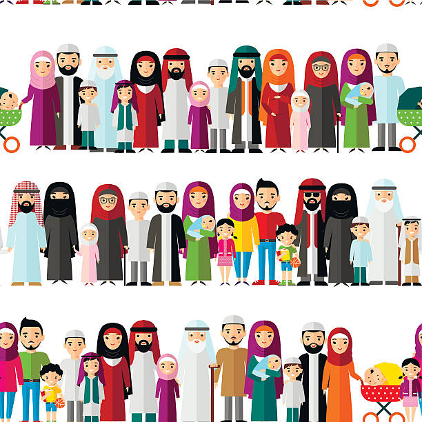 Best Arabic Family Illustrations, Royalty.