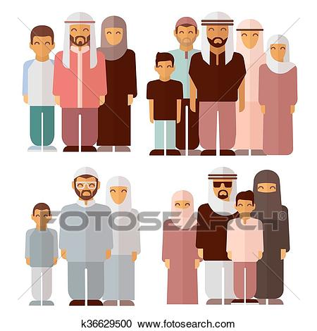 Arabic family in traditional muslim clothes Clipart.