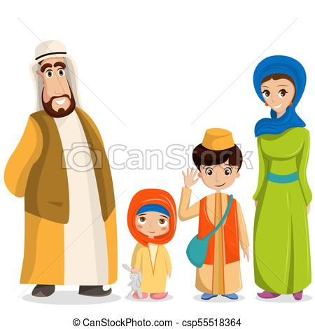 Vector arabic family in national clothes. Parents, children in muslim,  islamic costumes.