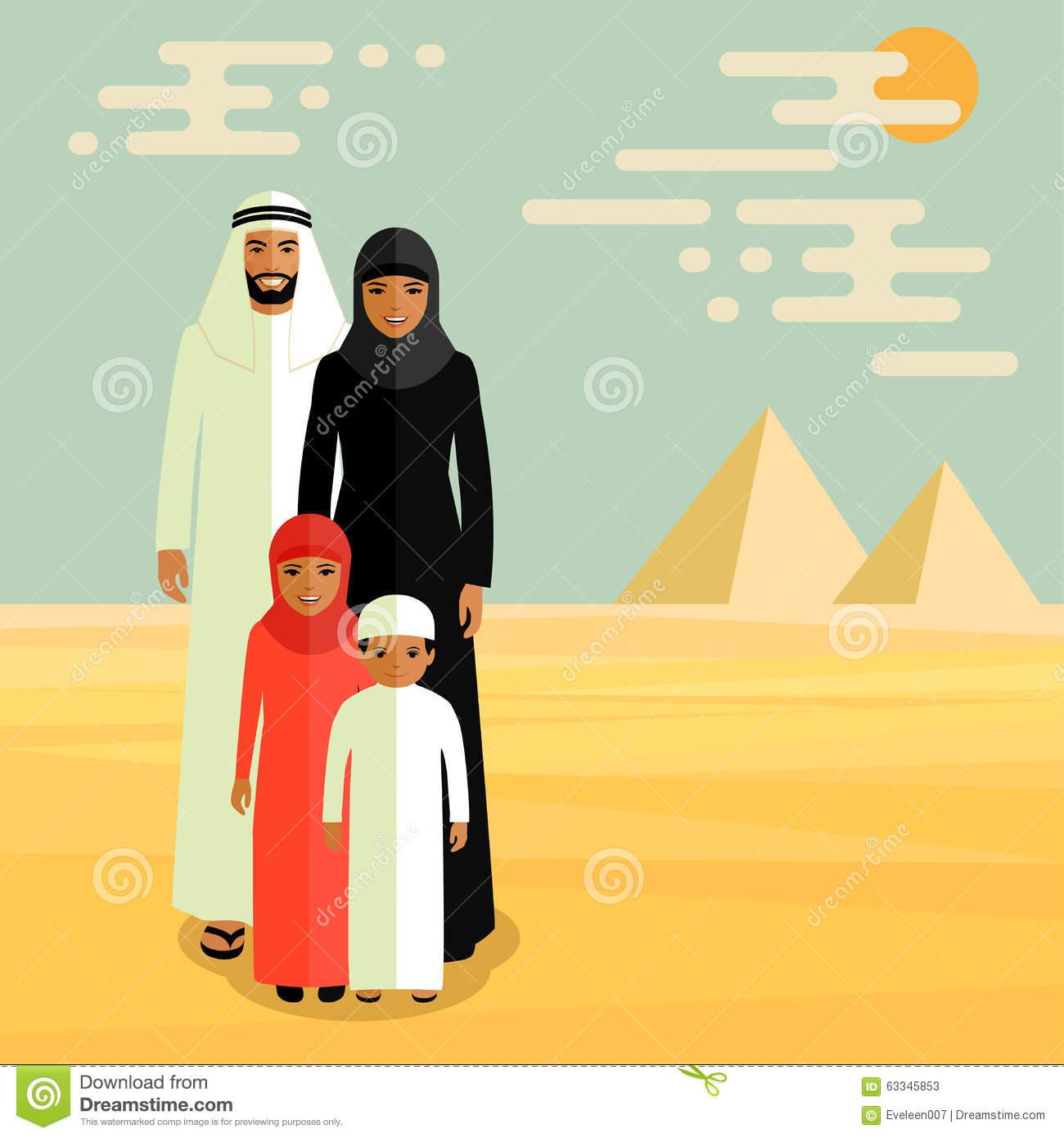 Arab Family Stock Illustrations.