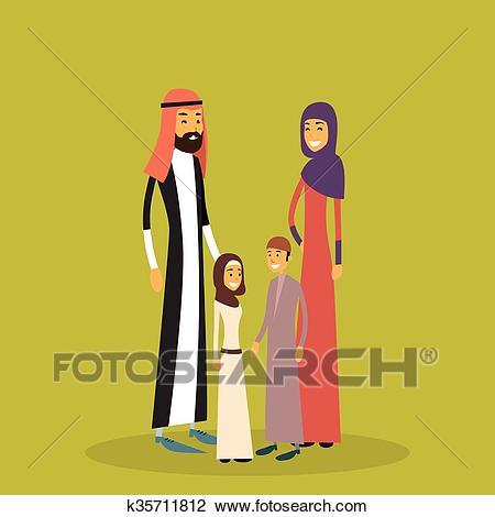 Arab Family Four People, Arabic Parents Two Children Clipart.