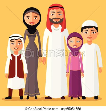 Happy muslim arabic family members isolated on background. Arab cartoon  people father, mother, son, daughter..