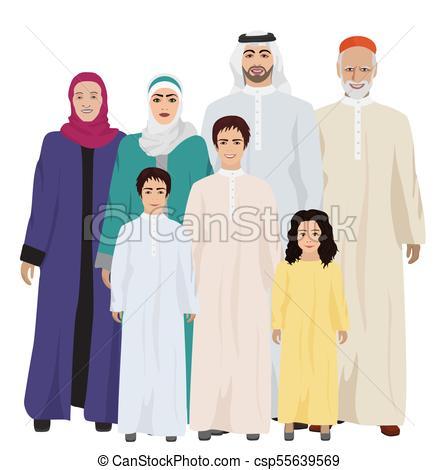 Big and Happy arab Family vector illustration.