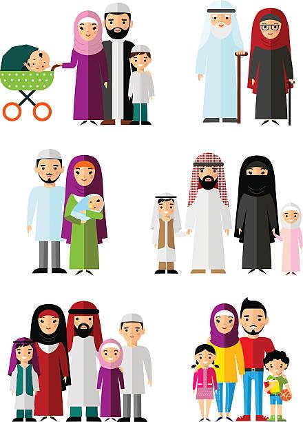 Best Arab Family Illustrations, Royalty.