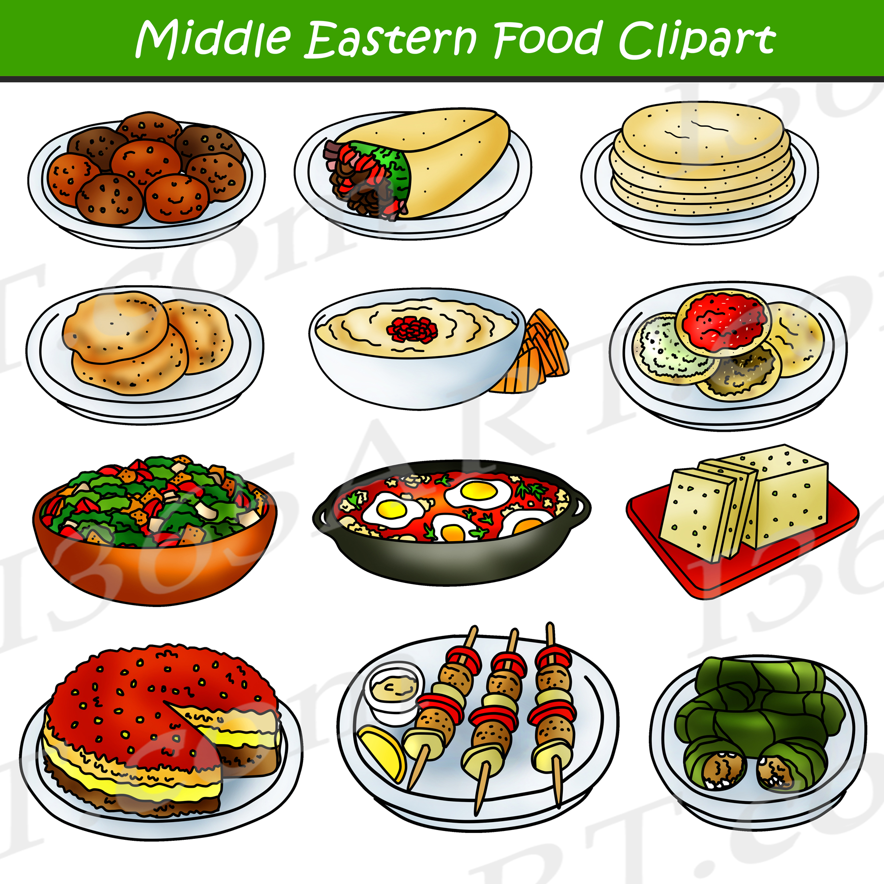 Middle Eastern Food Clipart.