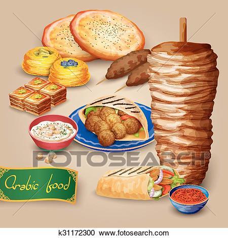 Arabic Food Set Clipart.