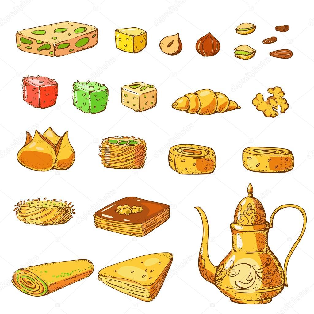 Traditional arabic food — Stock Vector © zabavinaula #113235148.