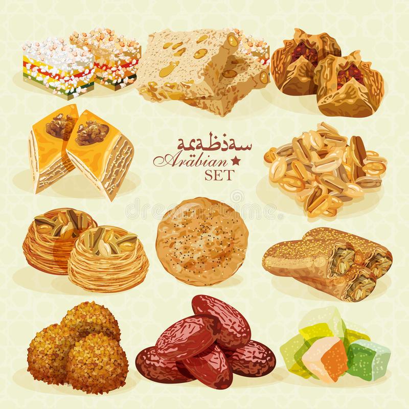 Arabic Desserts Stock Illustrations.
