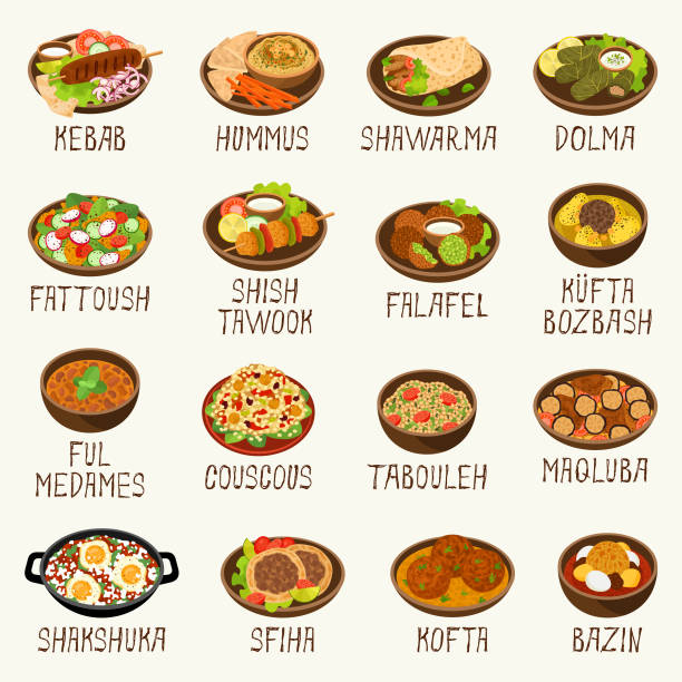 Best Middle Eastern Food Illustrations, Royalty.