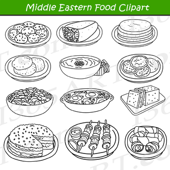 Middle Eastern Arabic Food Clipart.