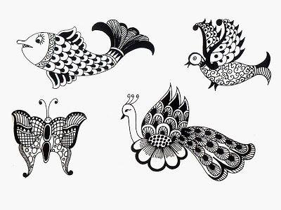 Peacock Henna Design, Fish Henna Designs.